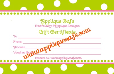 Applique Cafe gift cert 400