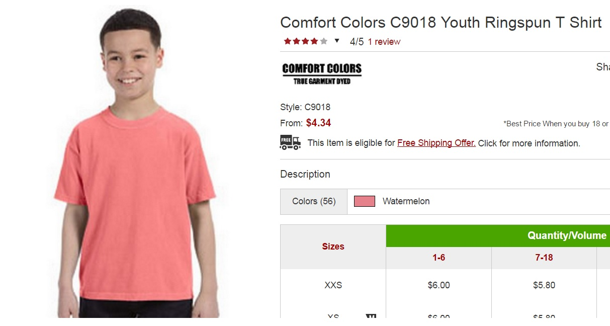 comfort colors youth